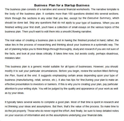 start up business plan template free startup business plan templates 10 free word pdf