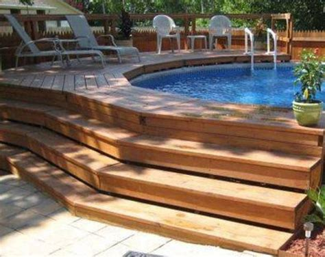 Landscaping And Outdoor Building Swimming Pool Deck Above Ground Swimming Pool Deck Designs