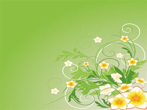 Green Abstract Flowers Backgrounds Abstract Flowers Green White Yellow Templates Free Flowers Powerpoint Template