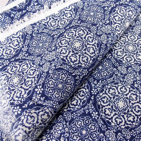 blue and white porcelain print cotton linen fabric