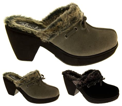 clogs heels for skechers leather suede high heels fur lined winter