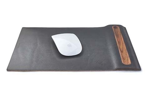 Pen Mouse Pad grovemade walnut mouse pad boasts an integrated pen holder