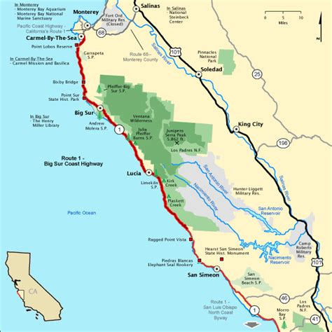 map us highway 1 route 1 big sur coast highway map america s byways