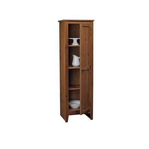 adeptus solid wood single door pantry cabinet pecan