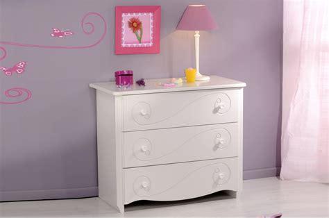 commode enfant fille commode de chambre fille 3 tiroirs blanc brillant