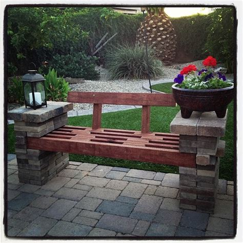 Patio Block Bench by Bench Made Out Of Left Patio Pavers And A Few 2x4 S