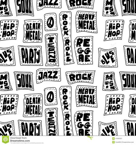 pattern of the words doodle music words seamless pattern stock illustration