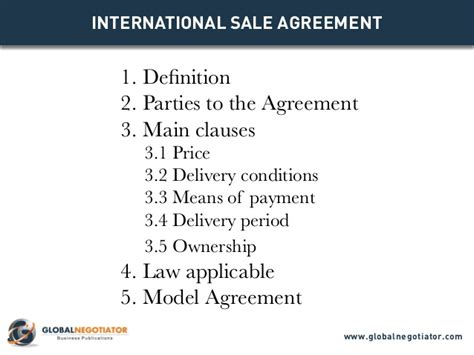 international trade contract template international sale agreement template