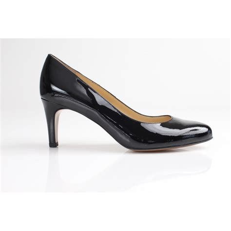 kaiser bene black patent court shoe with leather
