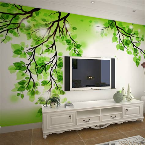 green wallpaper room custom wallpaper simple 3d stereoscopic wallpaper murals
