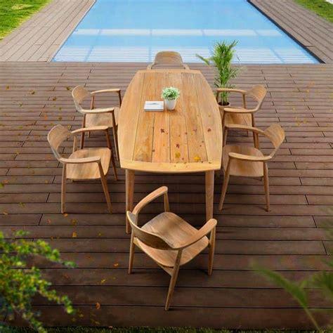 pc mid century modern outdoor teak dining set lara