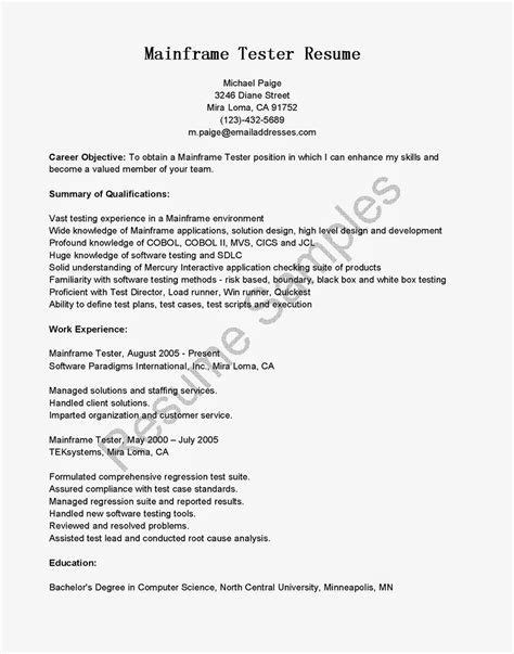 Mainframe Developer Resume Examples Sample Resume For Experienced Mainframe Developer Job