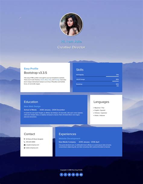 bootstrap themes profile template 467 easy profile