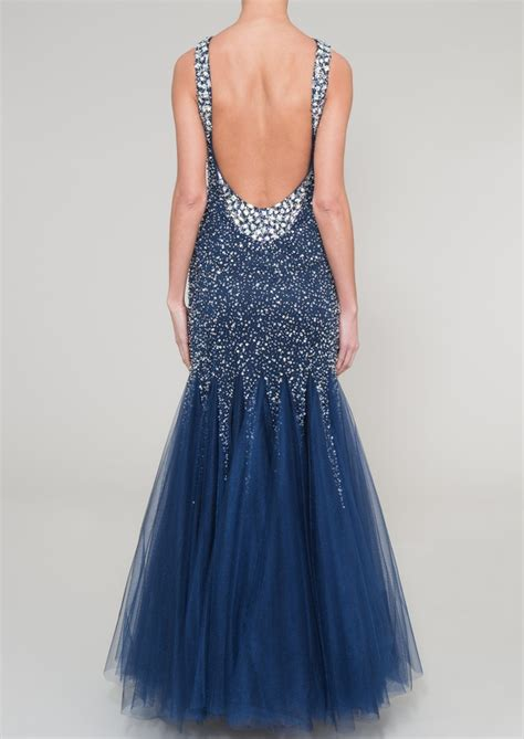 beaded fishtail dress navy fully beaded fishtail evening dress your back