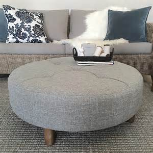 Fabric Ottoman Coffee Table Large Grey Tufted Ottoman Fabric Coffee Table Hton S Coastal Scandi Ebay