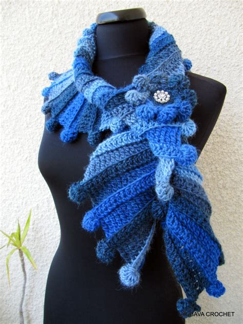 blue pattern scarf crochet patterns scarves a collection of diy and crafts
