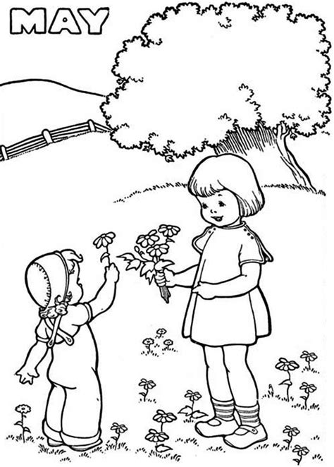 month  springtime coloring page