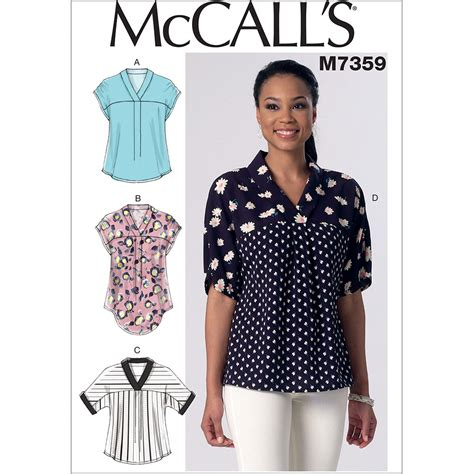 t shirt sewing pattern uk misses v neck dolman sleeve tops mccalls sewing pattern