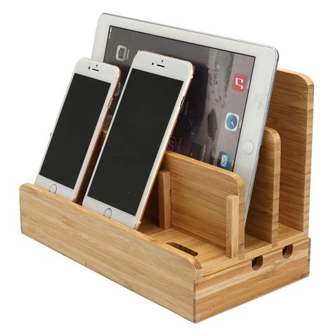 phone charger organizer new multifunctional bamboo charger dock stand desktop