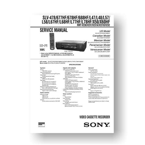 Sony Slv478 Service Manual Parts List Download Uscamera