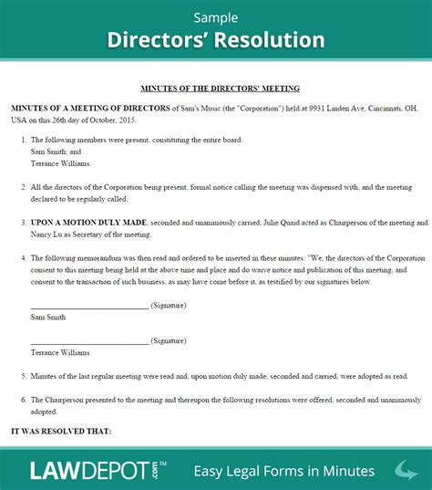 directors resolution form free board resolution