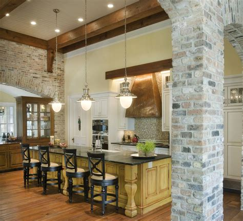 brick kitchen interior brick wall living room rustic with arched doorway
