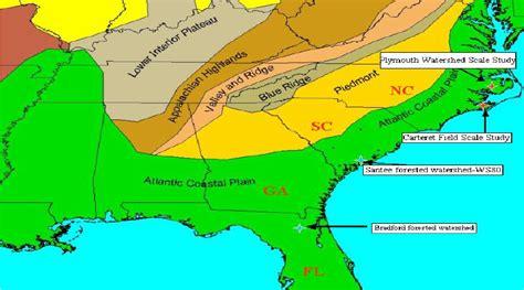 gulf coastal plain map location of study in the southeastern atlantic