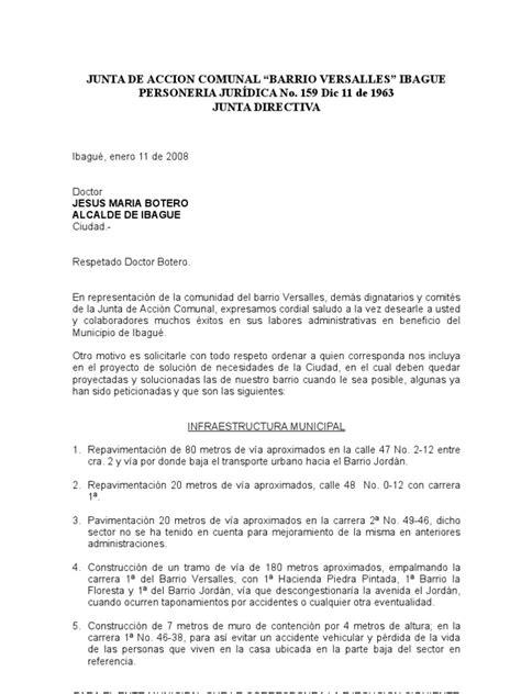 carta de retiro junta de accion comunal junta de accion comunal