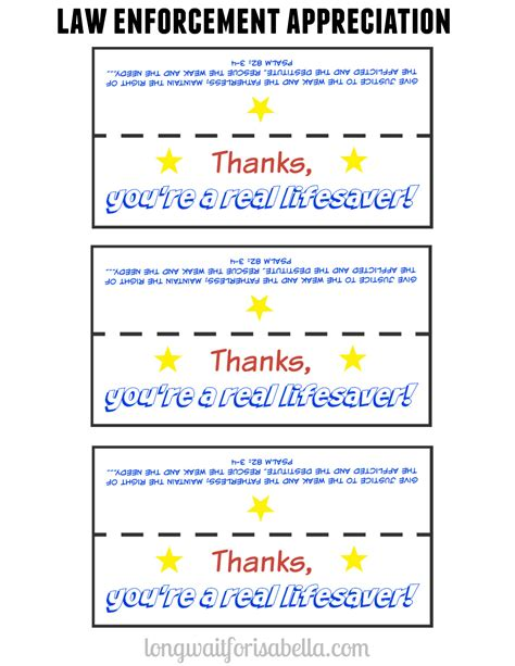 Officer Appreciation Day by Week Quot You Re A Lifesaver Quot Printable