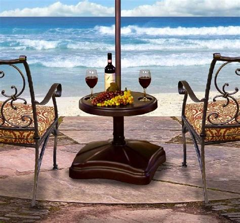 Patio Umbrella Stand Table Shademobile Ru22 6250 Rolling Umbrella Stand And Accessory Table Bronze