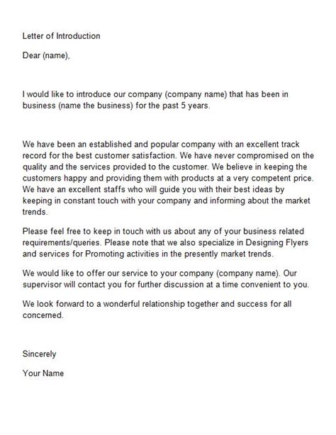 Letter Introducing Company 40 Letter Of Introduction Templates Exles