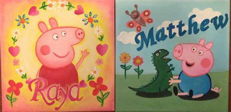 painting peppa pig peppa pig personalised canvas by chloesmith8 on deviantart