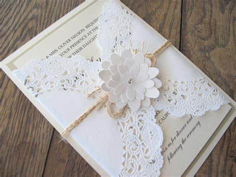 diy lace doily wedding invitations shabby chic lace doily flower wedding invitation invite