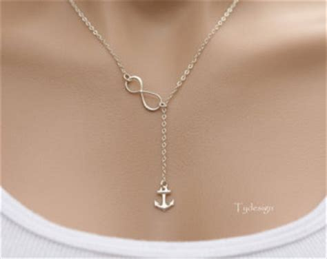 infinity and anchor necklace sterling silver infinity anchor lariat y necklace anchor