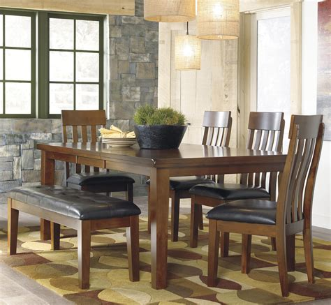 ashley signature design ralene casual  piece dining set  butterfly extension leaf bench