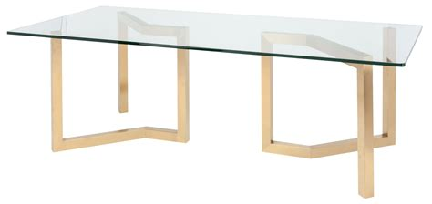 glass and gold dining table paula 94 quot clear glass and gold metal dining table from