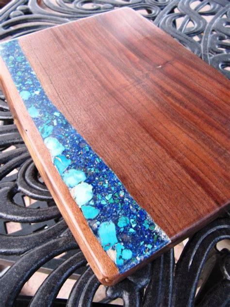 wood cutting board figured black walnut  turquoise  lapischrysocolla cutting boards