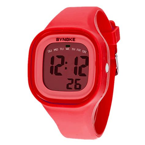 womens chic waterproof led digital sports watches silicone