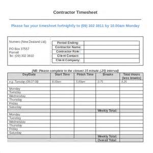 contractor spreadsheet template 12 contractor timesheet templates free sle exle