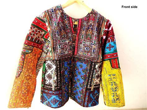 Embroidery Button Jacket kutch embroidery vintage sleeve bohemian jacket with