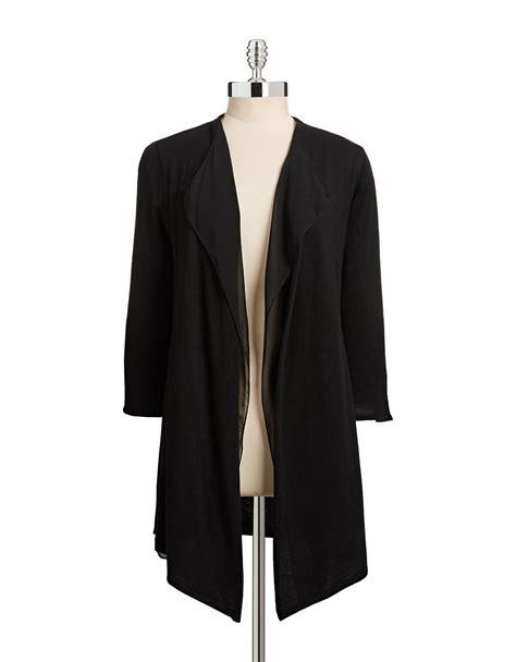 Cardigan Chiffon Klein Chiffon Open Front Cardigan In Black Lyst