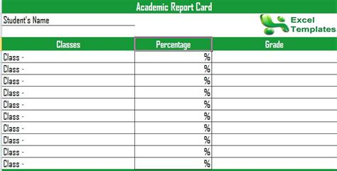 report card template excel progress report template academic progress report template