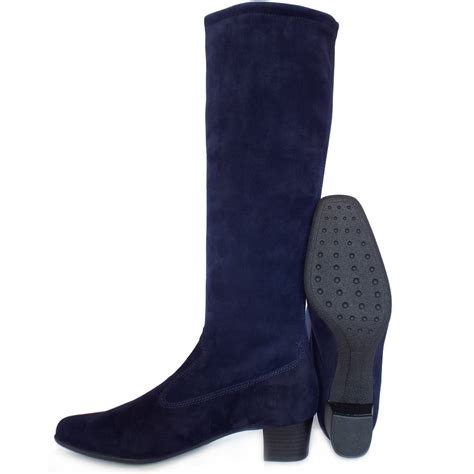 kaiser aila pull on navy stretch suede boots