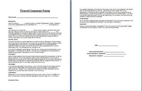 parental consent form template travel printable ms word parent consent forms word excel