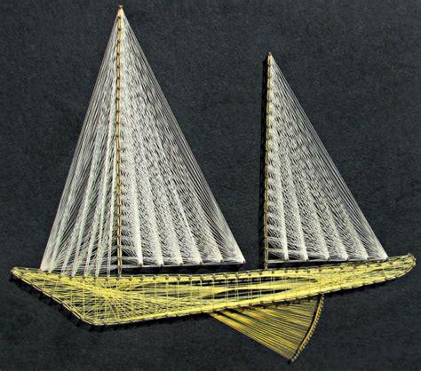 String Sailboat - vintage 70s string geometric sailboat wall hanging