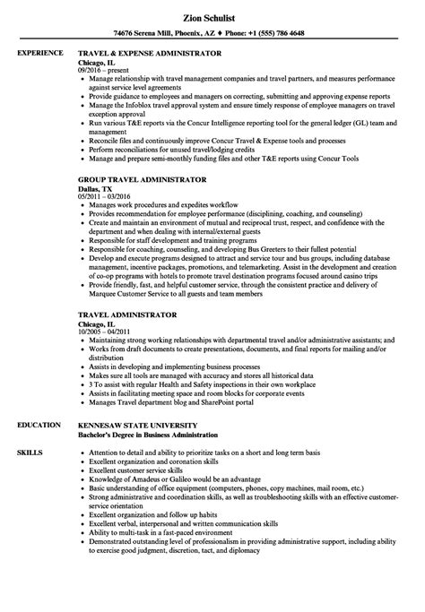 Travel Manager Sle Resume by Travel Administrator Resume Sles Velvet