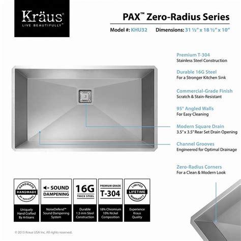 Kraus Pax Zero Radius Undermount Stainless Steel 32 In Single Basin Kitchen Sink Kit Khu32 Kraus Sink Templates