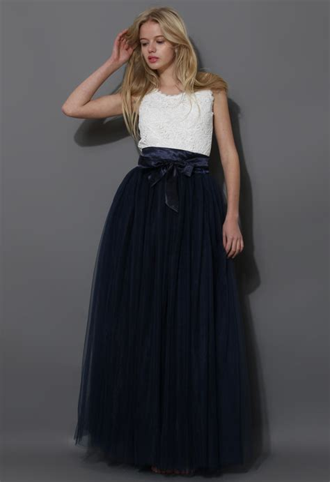 Amora Maxi 8 maxi tulle prom skirt in navy retro and