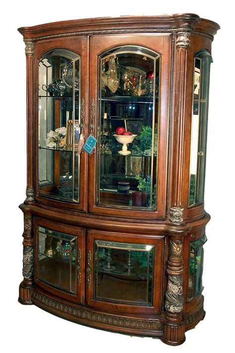 buffet hutch cabinet cherry finish glass china display cabinet buffet hutch ebay