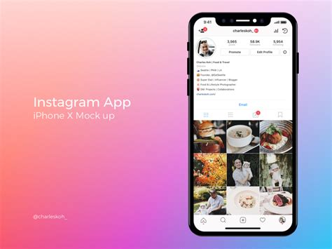 instagram layout download iphone instagram app profile mockup on iphone x by charles koh